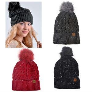 Speckled Ladies Knit Winter Hat W Fur Pom